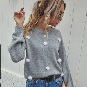 Womens Med. Heather gray sweater pom poms